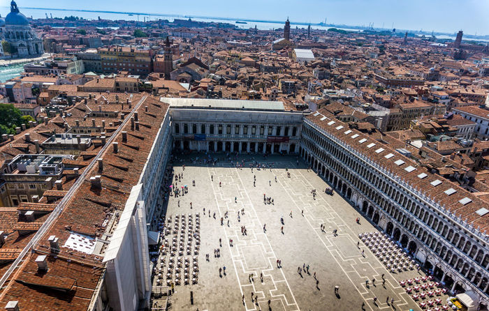 Aerial View Architecture Building Exterior Built Structure City Cityscape Day High Angle View History Italia Italien Italy No People Outdoors Panorama Piazza San Marco Sky Tourism Travel Destinations Urban Skyline Venedig Venezia Venice