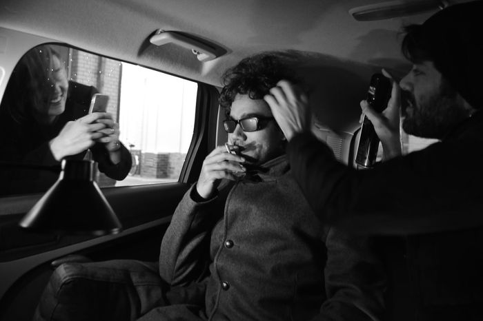 behind the scene... getting ready! Black And White Composition Contemplation EyeEm Best Shots EyeEm Challenge EyeEm Team Faces Of EyeEm Fashion Iconic Inside A Car Lifestyles Looking At Camera Man Person Portrait Real People Sitting Taking Photos Young Adult Young Men