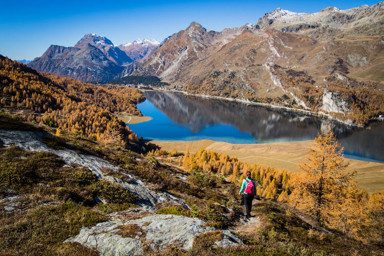 hiking during the indian summer in the engadin Autumn Reflection View Adventure Alps Beauty In Nature Day Engadin Hiker Hiking Indian Summer Lake Landscape Leisure Activity Lifestyles Mountain Mountain Range Nature One Person Outdoors Real People Scenics Switzerland Tranquil Scene Tranquility Perspectives On Nature Be. Ready. The Great Outdoors - 2018 EyeEm Awards
