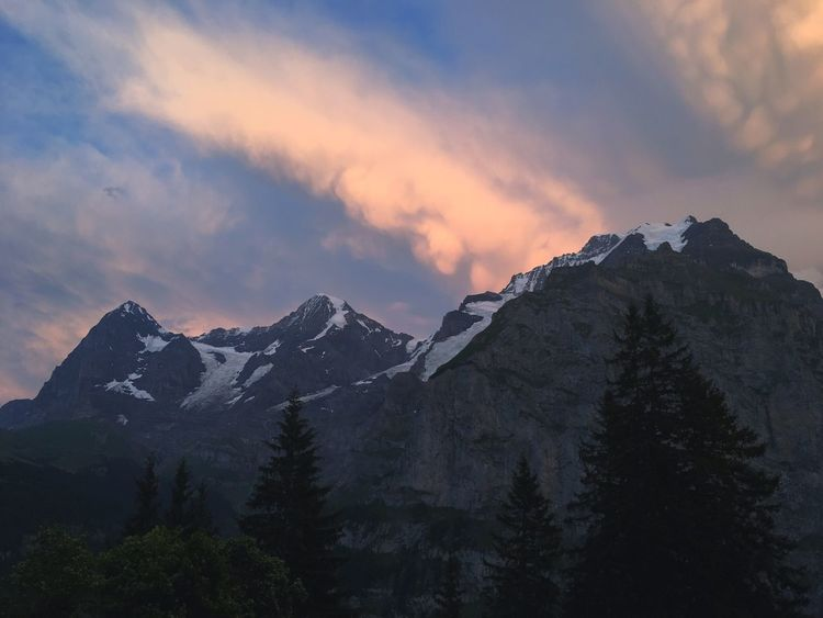 Never get tired of the majesty of those mountains... No People Tranquility Nature Outdoors Sky Berner Oberland Clouds Cloud - Sky Sunset Eiger Moench Jungfrau