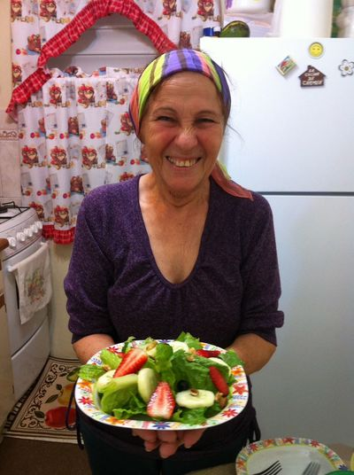 Granny In The Kitchen Salad Enjoying Life Happiness Smile Grandma