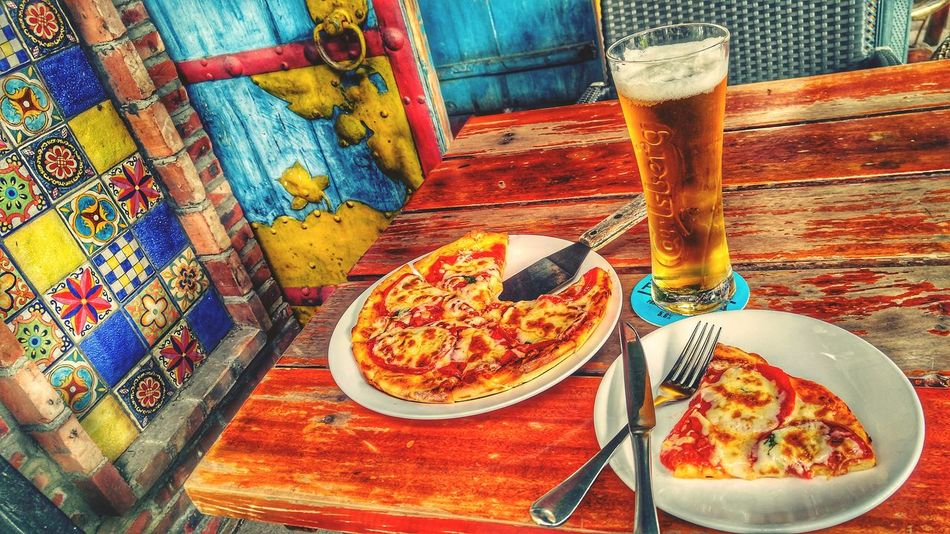 Table High Angle View Food And Drink No People Indoors  Freshness Ready-to-eat Day Close-up Beer Pizza Margarita Carlsberg