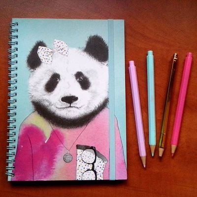 Panda Pal🐼 Stationery Notebook Diary Typo Pens Cute Panda Typoshop Mint Pink Myweakness Igers F4F @typoshop Instagood Photooftheday Followme Instadaily Instalike Igers
