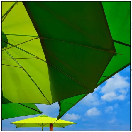 last summer Green Color No People Nature Day Sky Outdoors Low Angle View Sunshade Umbrella Blue Sky