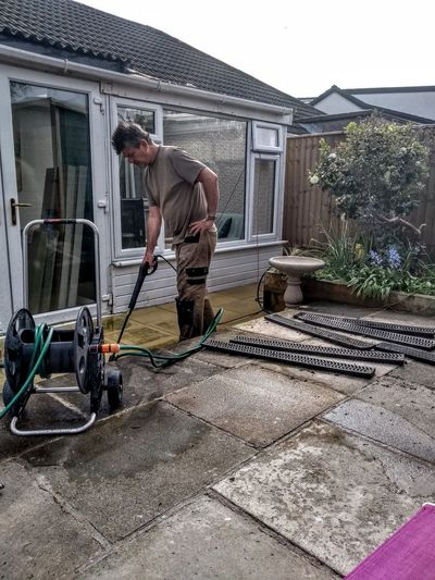 Garden jobs for summer. Power washing the back patio and flagstones.
