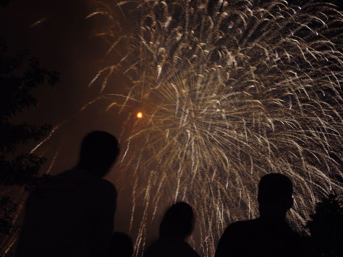 Silhouette People Looking At Fireworks Explosion Against Sky