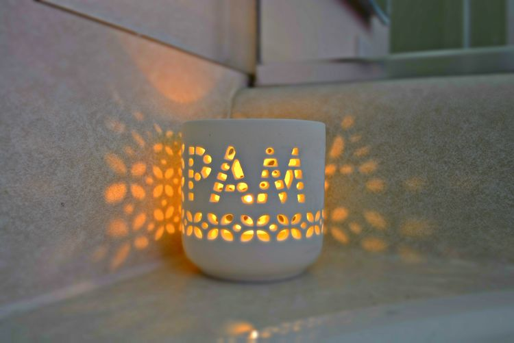 Pam Candle Candle Close-up Flame Glow Glowing Glowing ☺ Illuminate Illuminated Illuminated Signs Illumination Lit Candle Name No People Pam Selective Focus Still Life