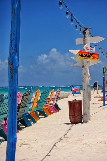 Mexico Maravilloso Xpu-ha Chairs Colorful Sun Happy Vacation Sea Sky Day Beach Outdoors Sunlight Scenics Horizon Over Water Beauty In Nature Water Sand Nature Tranquility