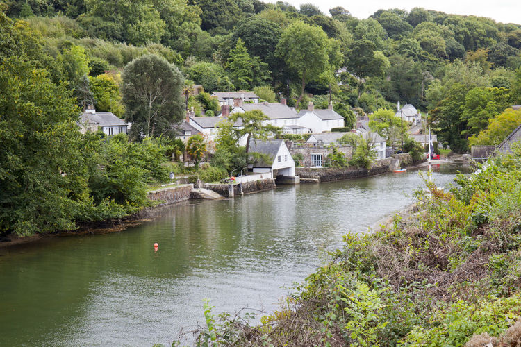 Calm Helford River Riverside Tranquil Trees Boat Boat House Boathouse Building Exterior Built Structure Day Helford Homes Outdoors Peaceful River Tree Village Water White