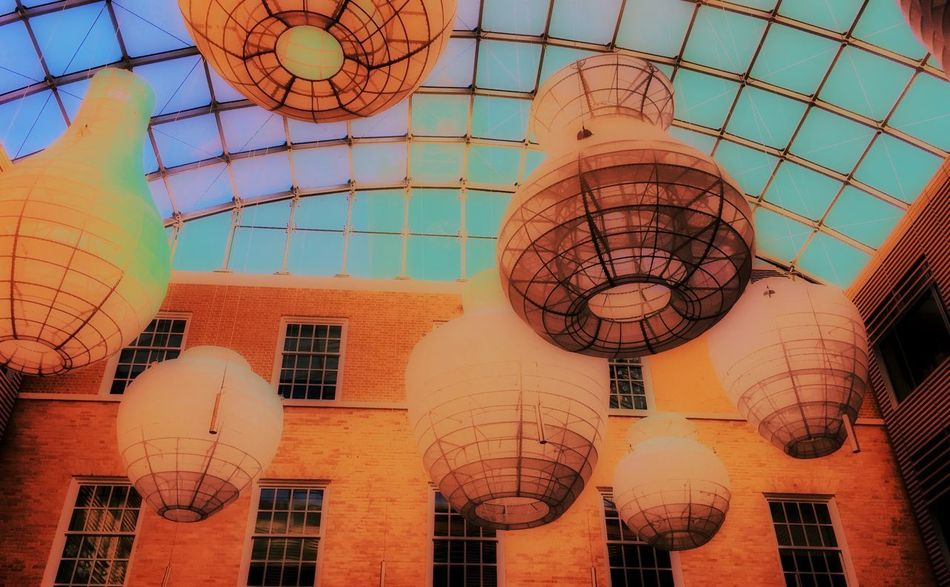 The big lamps Architecture Built Structure No People Sky Outdoors Day City Close-up Fixture Roof Window Blue Orange Color Art Frame