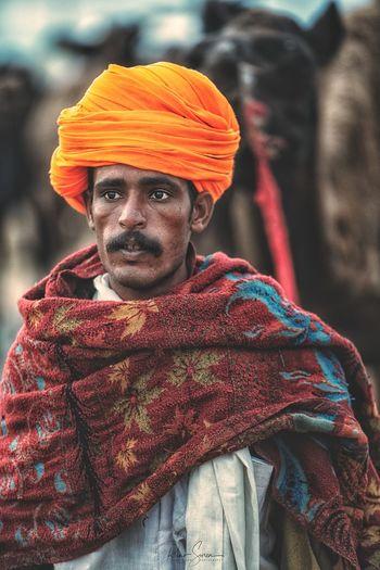 Close-up of man wearing turban