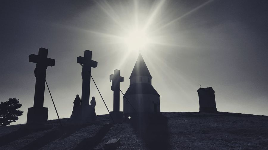 Calvary Slovakia Nitra Religion Spirituality Architecture History Silhouette Cross No People Sky Sun Place Of Worship Outdoors Catholic Sculpture Old Observation Point
