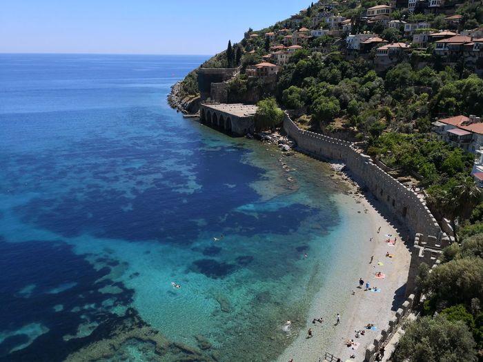 #NoFilter #Antalya #alanya #mate10pro #sunshine #people #City #EyeEm #blueandgreen #redtower Water Sea Beach Blue Tree Sand Aerial View Sky Landscape Horizon Over Water Reef
