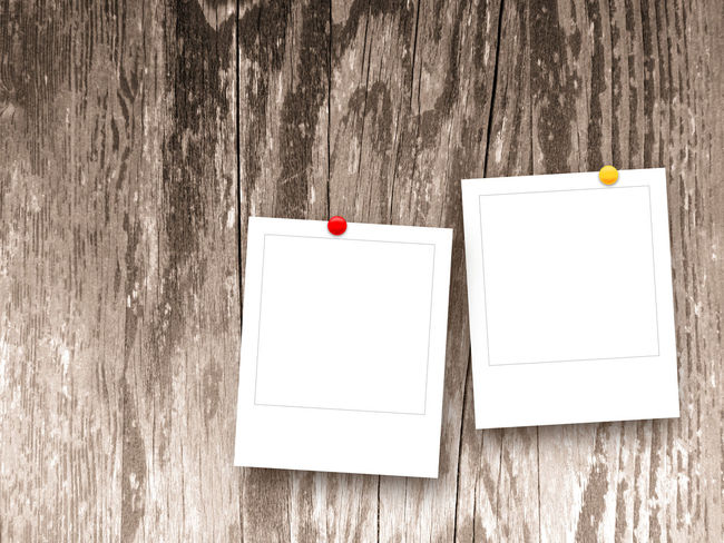 Two square empty photo frames with pins on brown wooden boards background 2 Background Blank Brown Camera Empty Holidays Images Memories Photo Photography Picture Pins Polaroid Portfolio Product Photography Product Placement Square Photoframe Tag Template Timber Two Vacancies White Wooden Boards Background