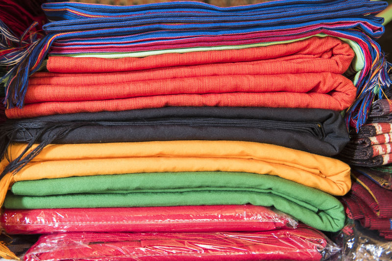 Close-Up Of Multi Colored Fabric For Sale In Market