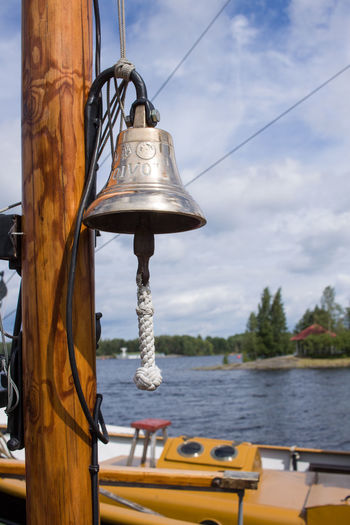 Sky Nautical Vessel Transportation Mode Of Transportation Hanging Day Focus On Foreground No People Metal Bell Rope Sailboat