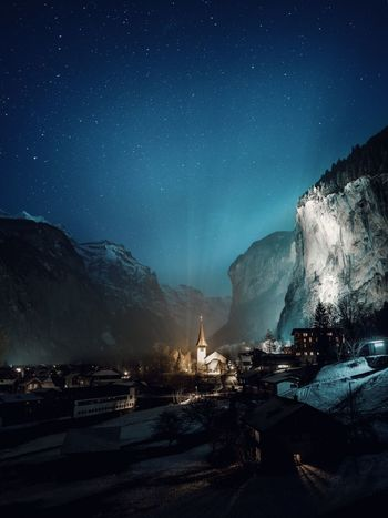 Astronomy Beauty In Nature Clear Sky Cliff Galaxy Illuminated Mountain Nature Night No People Outdoors Scenics Sky Space Star - Space Star Field Swiss Alps Tranquility Valley Villlage Winter