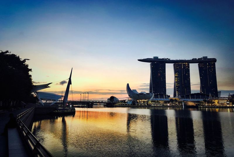View Singapore Sky Water Sunset Nature Architecture Sea Built Structure No People City