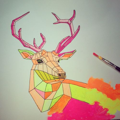 hay deer Drawing Watercolours Deer Animal