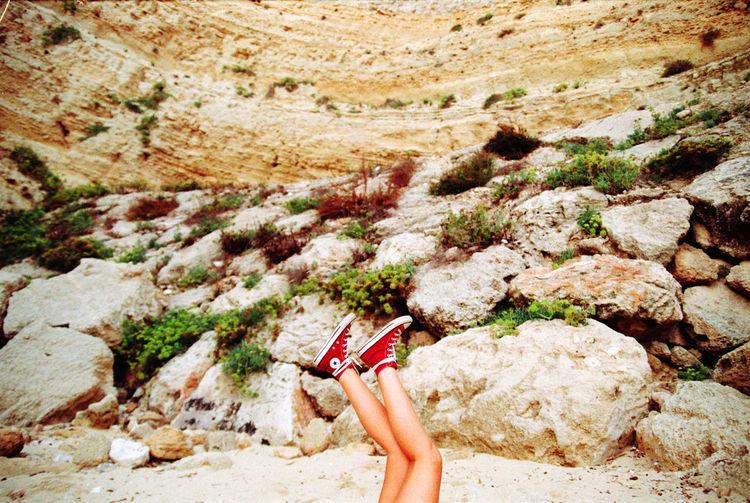 Woman on rock