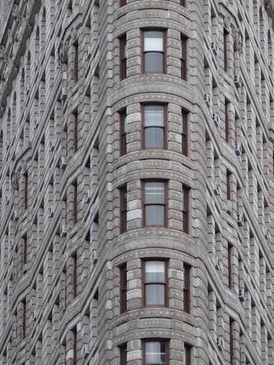 Flat Iron Building in NYC Architecture Beautifully Organized Brick Wall Building Exterior Close-up Flat Iron Building Manhattan New York USA Window Windows