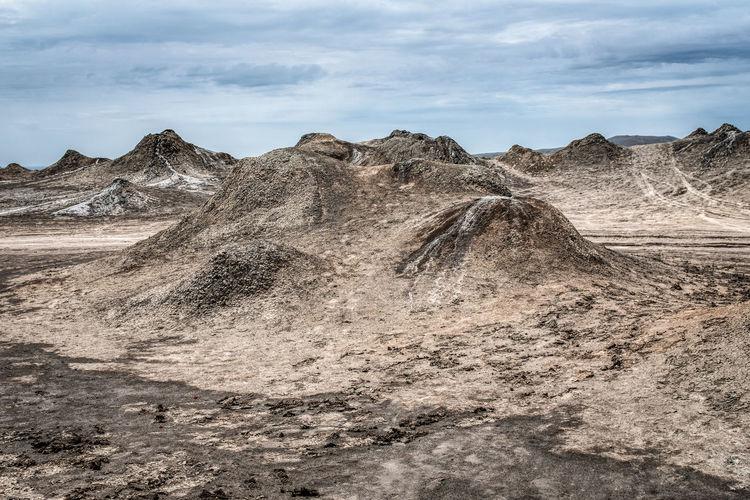 Mud volcanoes in gobustan, georgia.