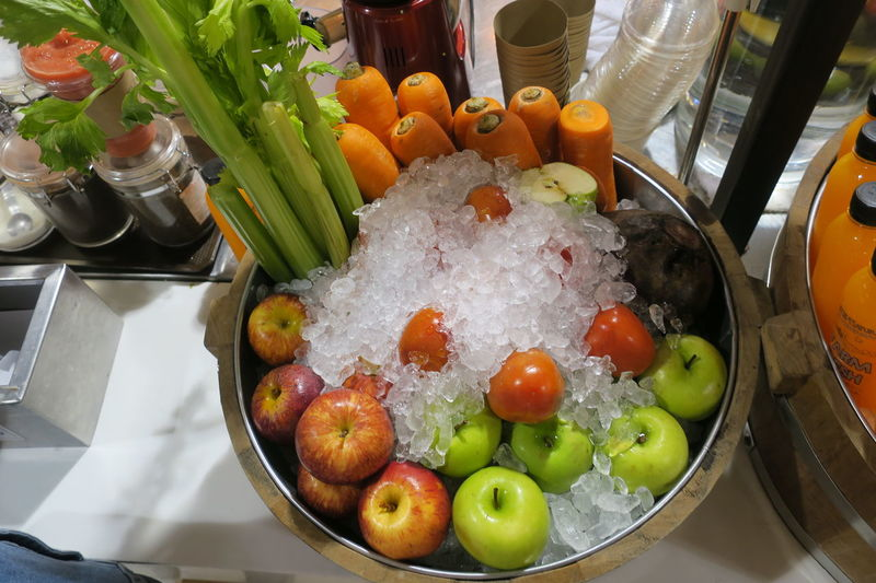 fresh fruit on ice Apple Bowl Carrot Celery Close-up Food And Drink Freshness Fruits Healthy Eating High Angle View Indoors  Ingredient Multicolor No People Refrigerated Vegetable Vegetables ıce