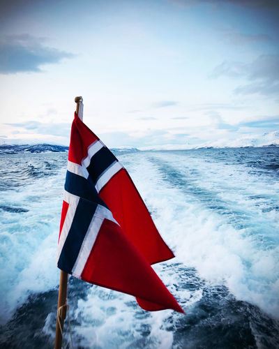 Norwegian flag on a boat trip
