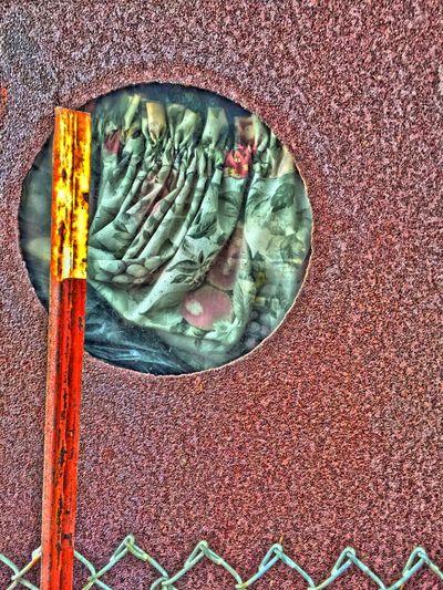 """""""Interior Decorating"""" Drapes covering porthole in old ship. Porthole Portholes Looking Through Portholes Ship Texture Textures And Surfaces Drapes"""