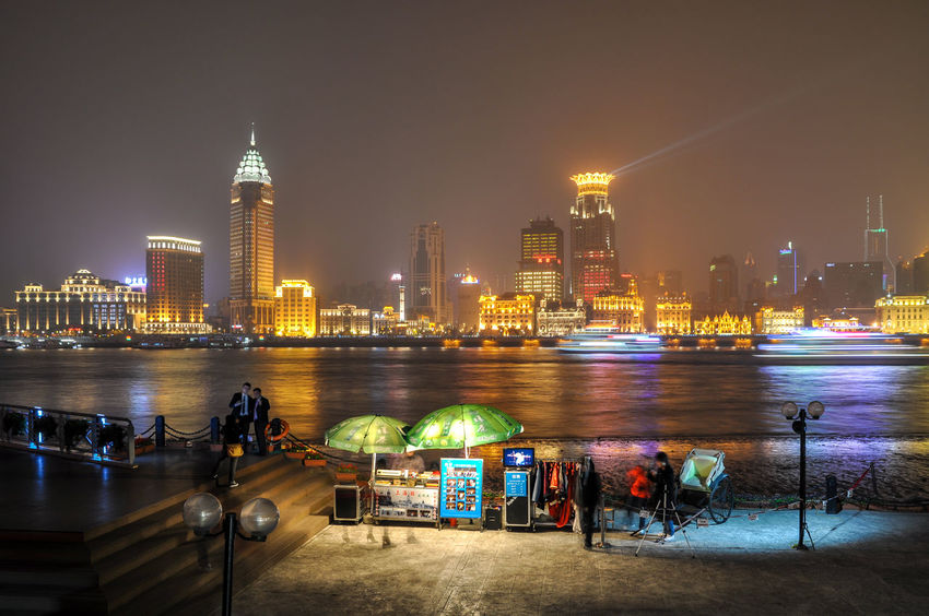 City Cityscape Metropolis Shanghai Neon Modern Architecture Tourism Tourist Attraction  Travel Destinations Holiday