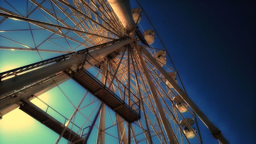 Low Angle View Blue Sky Architecture Urban Exploration Ferris Wheel At The Fair The Week Of Eyeem Eye Em Selects