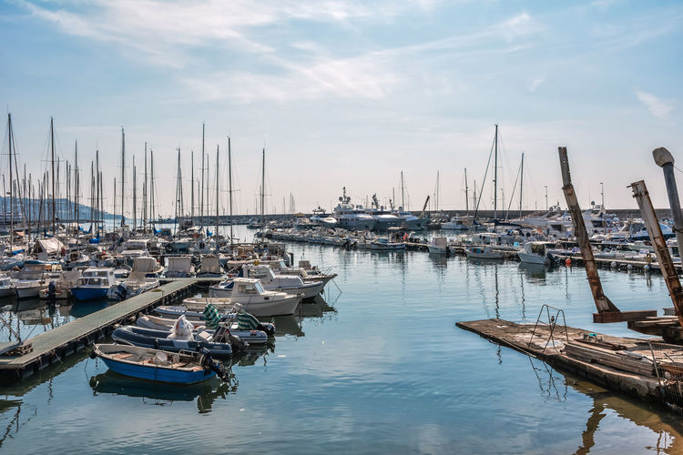 Fisher Boats Nature Sky And Clouds Boat Cloud - Sky Clouds And Sky Day Harbor Italy Mast Mode Of Transport Mode Of Transportation Moored Nature Nautical Nautical Vessel No People Outdoor Photography Outdoors Sea Sea And Sky Seascape Sky Transportation Water