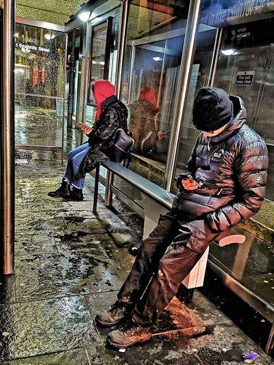 People sitting on train window