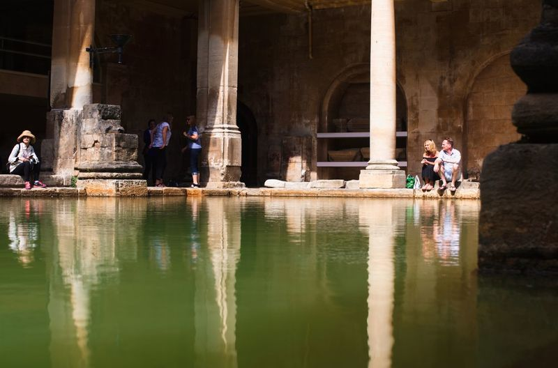 Architecture Built Structure Water Real People Architectural Column Reflection Group Of People