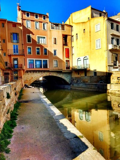 Narbonne France City Water Reflection Sky Architecture Building Exterior Built Structure Canal Residential Structure
