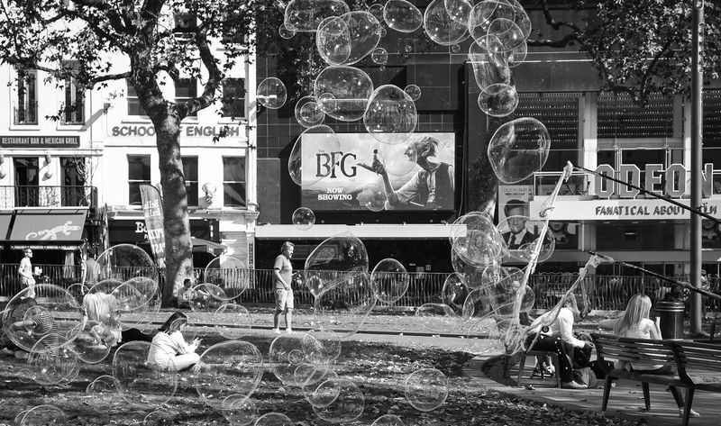 Bubbles Outdoors City Life Light And Shadow London United Kingdom LONDON❤ Bllackandwhite Black & White Black And White Streetphotography Street Photography City Life Leicester Square Bfg  Bubbles London Fun Bubble Monochrome Photography