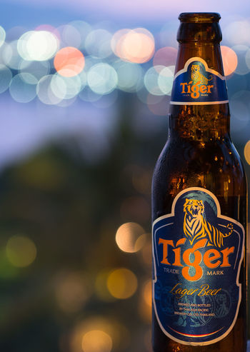 Beer Tiger Beer Twilight Alcohol Bokeh Bottle Close-up Cold Drink Condensation Drink Drop Focus On Foreground Food And Drink Freshness Illuminated Illustrative Editorial Liquid Night No People Refreshment Relax Water Water Bottle  First Eyeem Photo