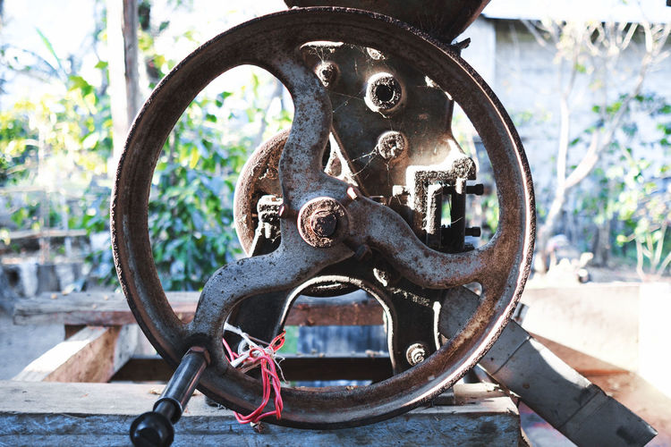 The making of coffee: tool Atitlan Lake Circle Close-up Coffee Plantations Day Equipment Focus On Foreground Geometric Shape Geometry Machinery Manual No People Old-fashioned Outdoors Tools Vintage Work