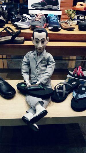 Pee-wee Herman sells shoes Alameda, California Peewee Shoes