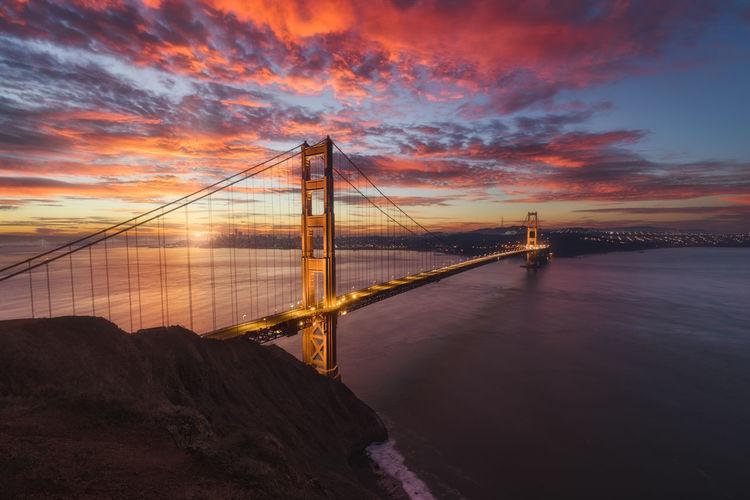 Suspension bridge over river during sunset