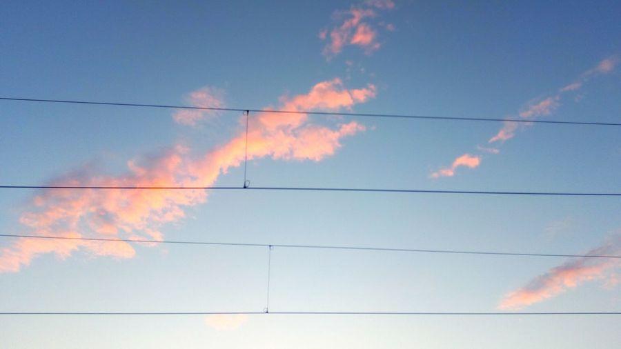 Train Lines Cloudy Vapor Trail Electricity Pylon Cable Electricity  Blue Power Supply Sky Cloud - Sky Power Line  Electrical Grid Power Cable