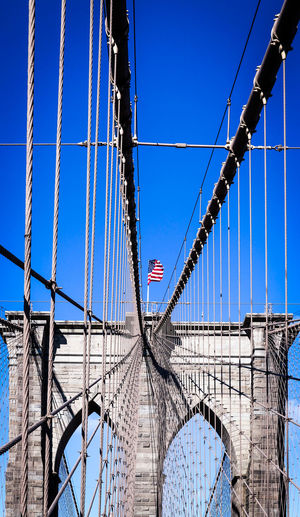 Steel Bridge Travel Destinations Metropole Bridge Brooklyn Bridge  Bridge Photography NYC NYC Photography NYCImpressions New York Bridge Pillar Steel Cables USA FLAG Stars And Stripes Flag