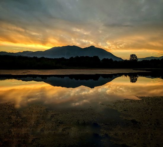 Morning Glow Mountain Sunrise Sunrise Reflection Lake Cloud - Sky Water Mountain Sky Nature Landscape Scenics Symmetry Silhouette Reflecting Pool No People Outdoors Tranquility Beauty In Nature Dawn Tree Day Lost In The Landscape