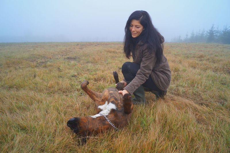 Happy Woman Petting Boxer On Field In Foggy Weather