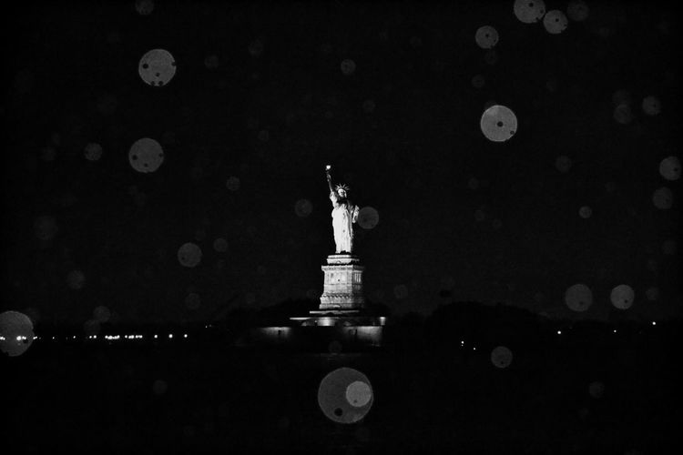 New York NYC Statue Of Liberty Eillis Island Black And White