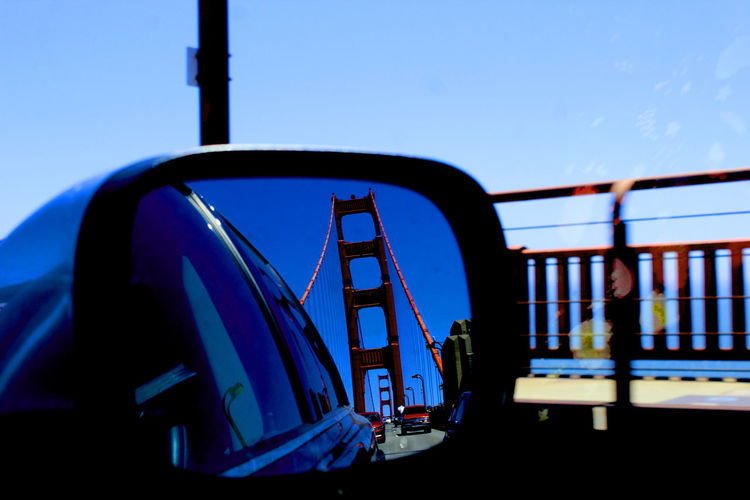 Blue Clear Sky Day Golden Gate Bridge Land Vehicle Mode Of Transport Nature Nautical Vessel No People Outdoors Public Transportation Reflection Sky Train - Vehicle Transportation Travel Wing Mirror