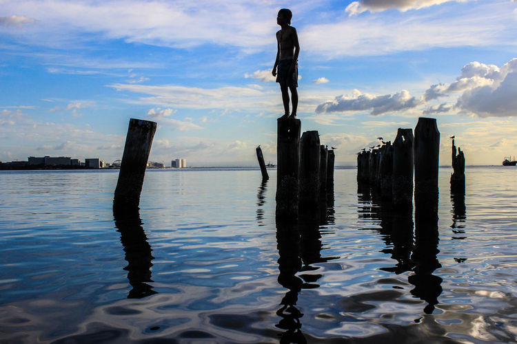 Hope Water Sky Cloud - Sky Nature Post Reflection Wooden Post Sea Silhouette Blue Waterfront