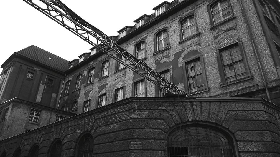 Building Old Building Built Structure Building Exterior Brick Brick Wall Wasted Blackandwhite Black And White Expired Exploring Lostplaces Lost Places Broken Glass Ruin Monochrome Cityscapes Industrial Industry Ruins Factory