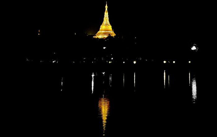 Pagoda Religion Gold Colored Reflection Ancient Night Travel Destinations Arts Culture And Entertainment Outdoors Nature Yangon Myanmar GalaxyNote8 Galaxynote8mm
