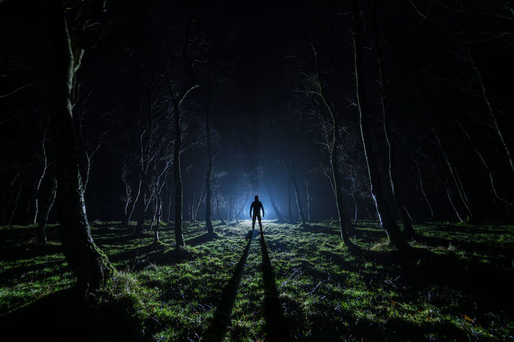 Silhouette man standing on field at night